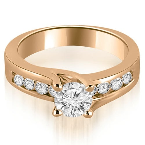 0.80 cttw. 14K Rose Gold Round Cut Channel Engagement Diamond Ring