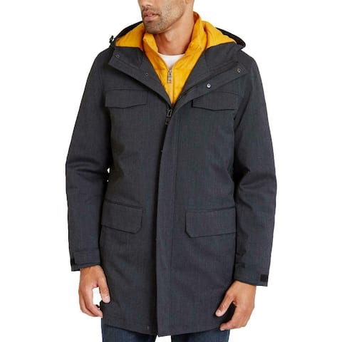 Nautica Mens Jacket Black Yellow Large L 3 in 1 System Parka Hooded