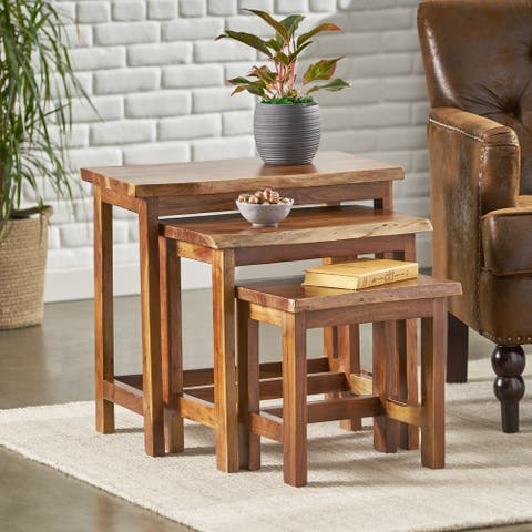 "Camba Rustic Handcrafted Acacia Wood Nested Tables (Set of 3) by Christopher Knight Home - 24.00"" L x 16.00"" W x 22.00"" H"
