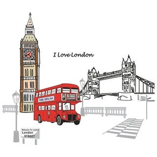 Unique Bargains Household London Street Pattern Removable Wall Sticker Decal Wallpaper