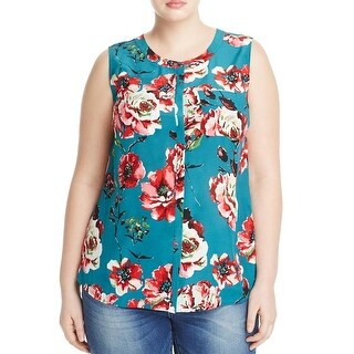 Lucky Brand Womens Plus Blouse Silk Floral Print