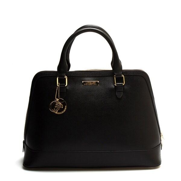 Versace Collections Women Leather Top Handle Handbag Satchel Black - L