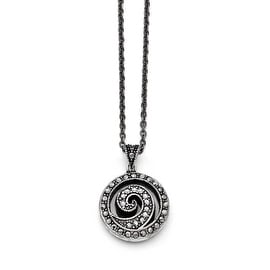 Chisel Stainless Steel Marcasite and Antiqued Swirl Necklace (2 mm) - 18 in