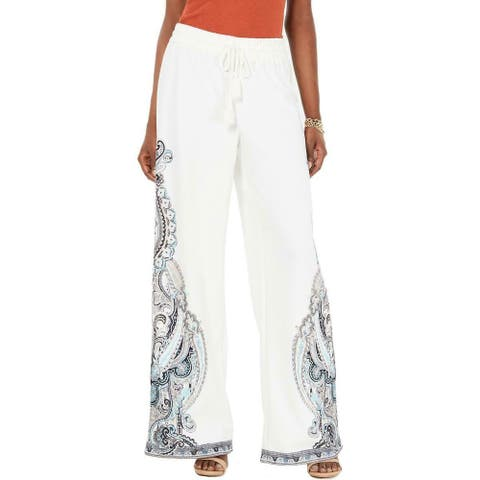 INC Womens Pants White Size Large L Paisley Flare Wide Leg Tassel