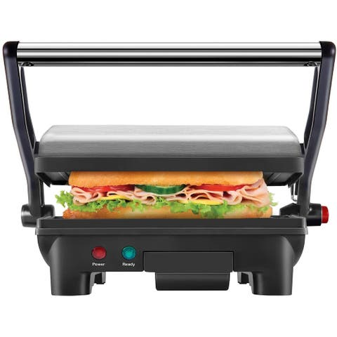 Chefman Electric Stainless Steel 180° Panini Press, Black, 10 x 8-inch Surface