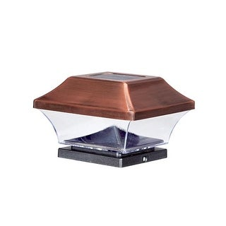 Solar Powered LED Antique Copper Post Cap Light, Pack of 4