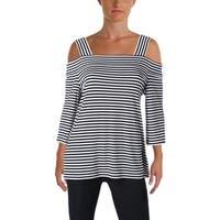 Nine West Womens Blouse Striped Cold Shoulder