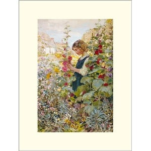 ''Girl Among the Hollyhocks'' by Alfred John Billinghurst Icon Art Collection Art Print (15.75 x 11.75 in.)
