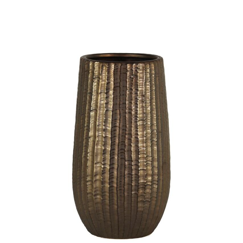 Cylindrical Stoneware Vase With Engraved Zigzag Design, Small, Bronze
