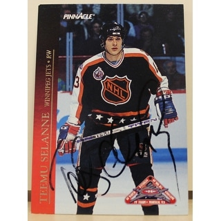 Teemu Selanne Winnipeg Jets Autographed 1993-94 Pinnacle All Star Card
