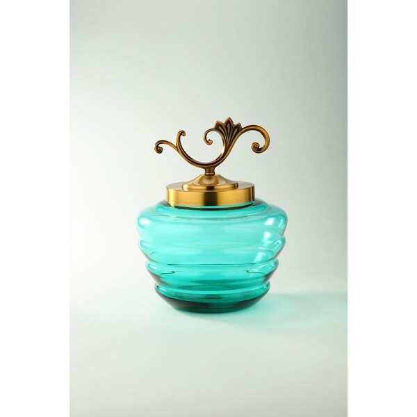 """14"""" Teal Green and Gold Hand Blown Glass Jar with Lid - N/A"""