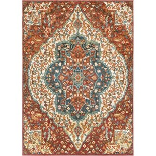 Surya MMT2303-23 Masala Market 2' x 3' Rectangle Synthetic Power Loomed Traditio - Red