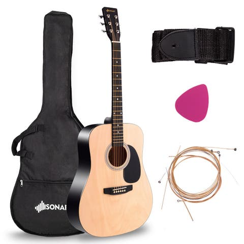 "Costway Sonart 41"" Acoustic Folk Guitar 6 String w/Case Strap Pick Strings for Beginners"