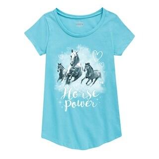 Horse Power - Youth Girl Short Sleeve Curved Hem Tee