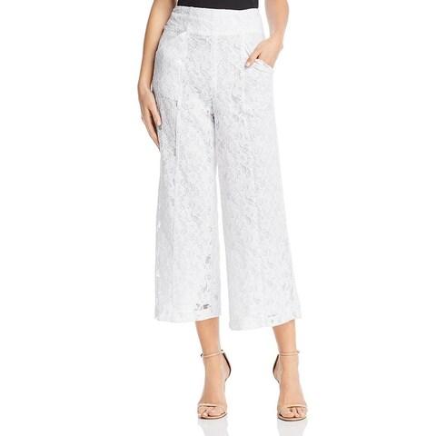 Aqua Womens Wide Leg Pants Lace Cropped