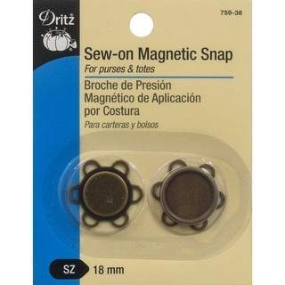 Flower Sew-On Magnetic Snap 1/Pkg-Antique Brass