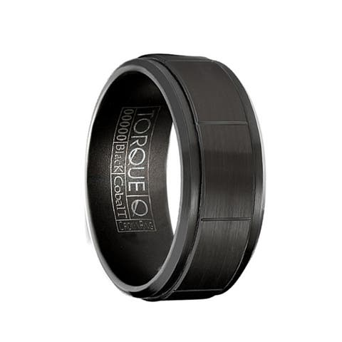 WARIO Torque Black Cobalt Flat Wedding Band Brushed Finish Center Grooved Design Beveled Edges by Crown Ring - 9 mm