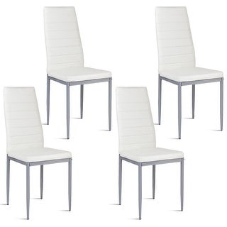 Costway Set of 4 PU Leather Dining Side Chairs Elegant Design Home Furniture White