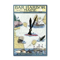 Bar Harbor, ME - Nautical Chart - LP Artwork (Acrylic Wall Clock) - acrylic wall clock