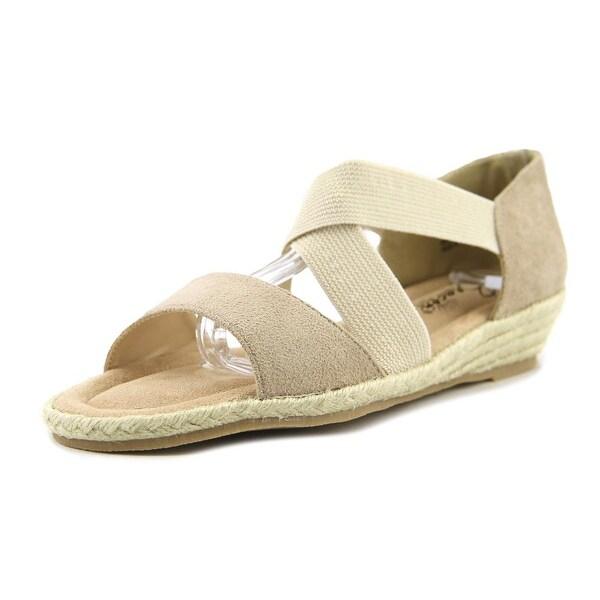 Beacon Lydia Women N/S Open Toe Leather Gray Wedge Sandal