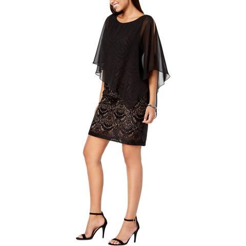 Connected Apparel Womens Plus Capelet Dress Asymmetric Lace