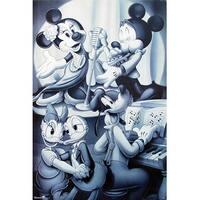 ''Mickey & Friends: Nightclub B&W;'' by Walt Disney Animation Art Print (36 x 24 in.)