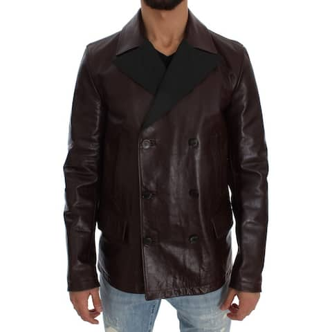 Dolce & Gabbana Brown Double Breasted Leather Men's Jacket - it48-m