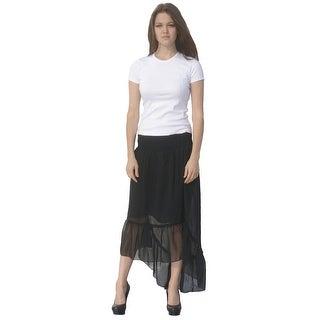 Deep Blue Womens Black Solid Color Ruffle Hi-Low Hem Cover-Up Skirt