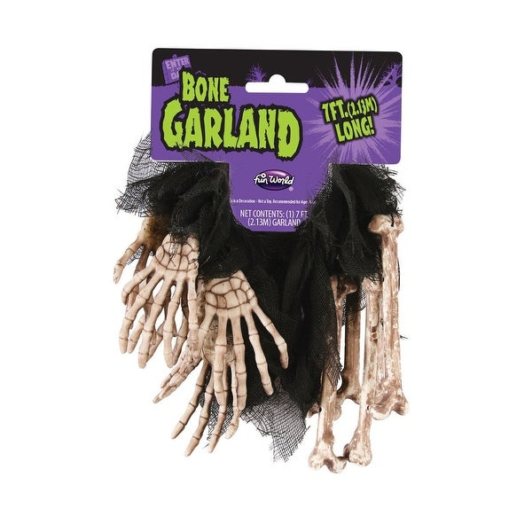 7' Skeleton Bone Metallic Skeleton Hand Halloween Garland