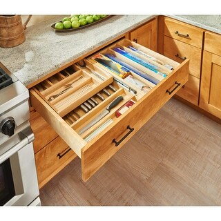 Rev-A-Shelf 4WTCD-36SC-1 4WTCD Series 36 Inch Two Tier Cutlery Drawer Organizer with Full Extension Slides and BLUMOTION Soft