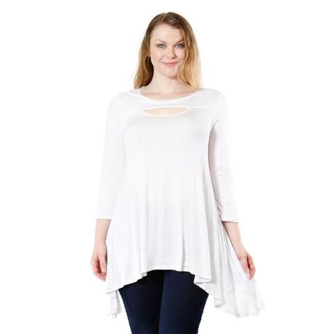 Women's Plus Size Long Sleeve Peep Front Blouse