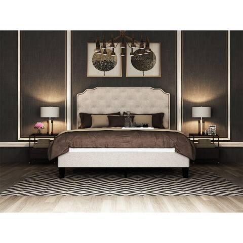 AOOLIVE Queen Size Upholstered Platform Bed Frame,Beige