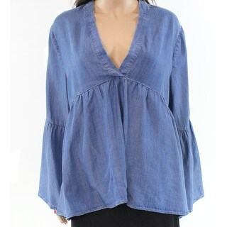 Chelsea & Theodore NEW Blue Chambray Large L Tunic High-Low Blouse