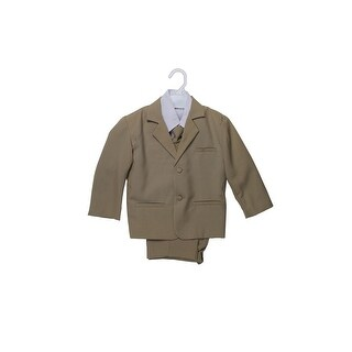 Wallao Boys Formal Suit Set with Shirt and Vest - taupe khaki
