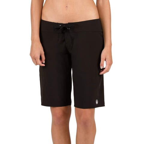 Volcom Women's Simply Solid Classic Swim Boardshort, Black 11, Black, Size 11.0 - 11
