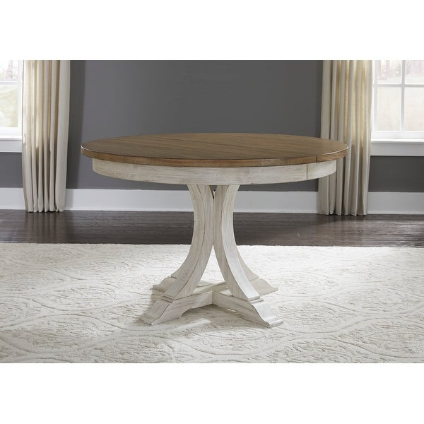 Farmhouse Reimagined Antique White with Chestnut Tops Pedestal Table. Opens flyout.