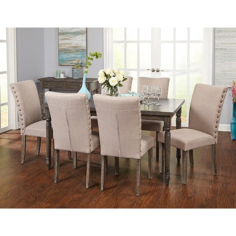 Simple Living Burntwood Parson Weathered Grey Upholstered 7-piece Dining Set