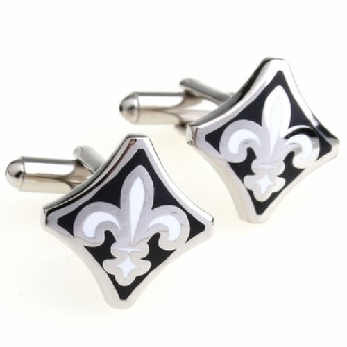 Black And White Fleur De Lis French Cufflinks