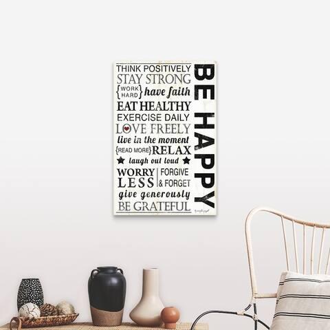 """""""Be Happy"""" Canvas Wall Art"""