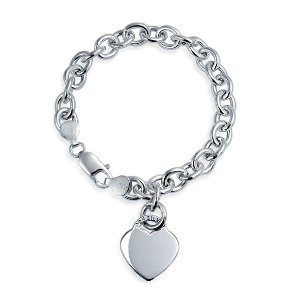 Solid Heart Shape Charm Tag Bracelet Engravable Sterling Silver Rolo. Opens flyout.