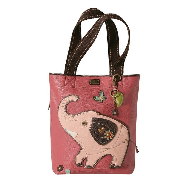 "Women's Pink Elephant Tote Bag - Faux Leather - 13"" X 15"" - 9"" Cotton Handles - 13.5 x 3.5 x 15 in"