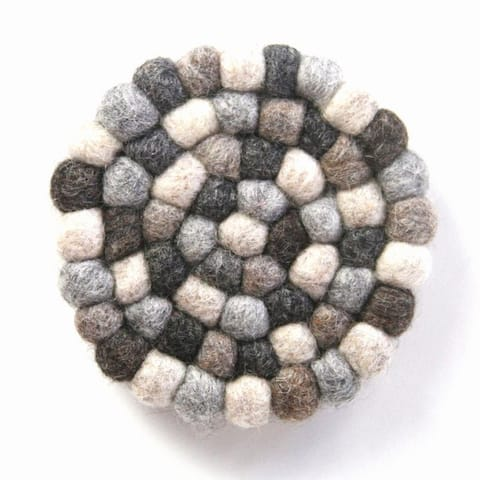 The Curated Nomad Southard Neutral Felt Ball Trivet