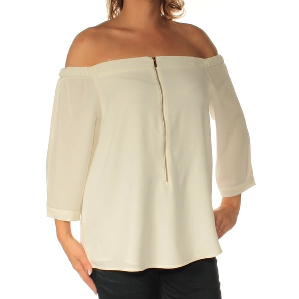 81e24ea66a0321 Shop Womens White Long Sleeve Off Shoulder Casual Top Size L - On Sale -  Free Shipping On Orders Over  45 - Overstock.com - 22423459