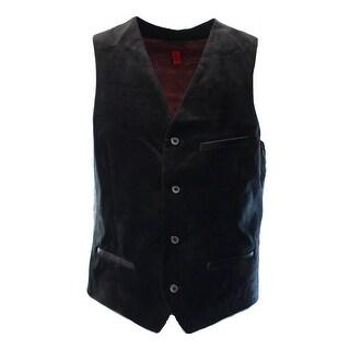 Alfani Deep Black Mens Size Large L Velvet Four-Button Slim-Fit Vest