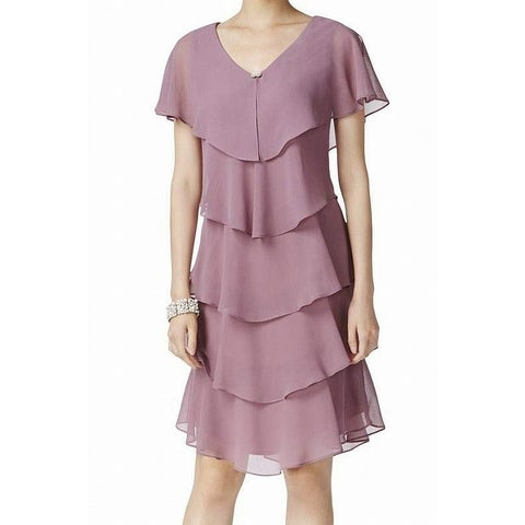 SLNY Pink Women's Size 2 Tiered Rhinestone Capelet Sheer Dress