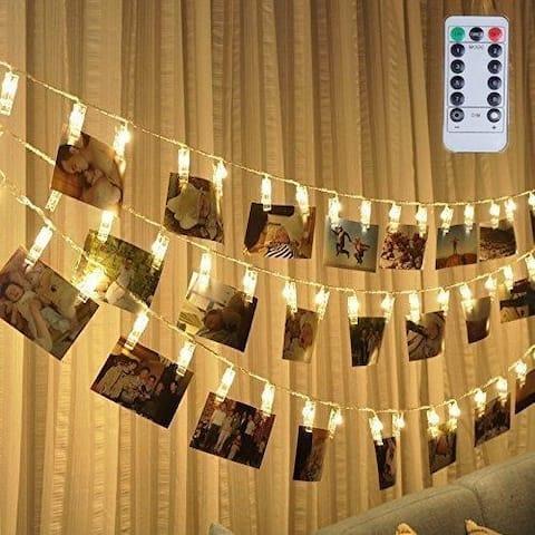 Led Photo Clip Remote String Lights Warm White - Medium