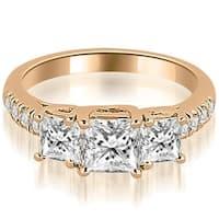 1.05 cttw. 14K Rose Gold Lucida Three-Stone Princess Cut Engagement Ring