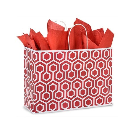"Pack Of 25, Vogue 16 x 6 x 12"" Red Geo Graphics Recycled Paper Shopping Bag W/White Paper Twist Handles"