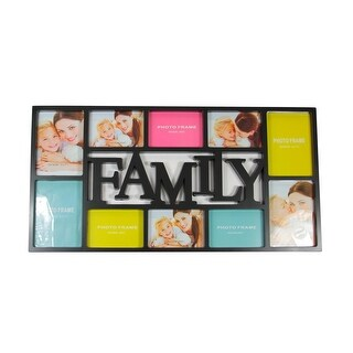 """28.75"""" Black Dual-Sized """"Family"""" Photo Picture Frame Collage Wall Decoration"""