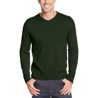 John Ashford Lightweight Cotton V-Neck Sweater Forest Green